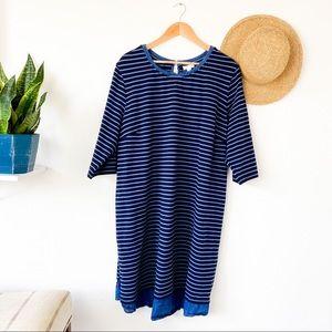 J. Jill Blue Striped Tunic Shift Dress Denim Hem